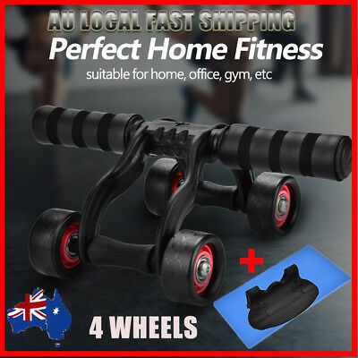 4-Wheel Fitness Ab Roller Workout System  Abdominal Abs Gym Exerciser+ Knee Pad