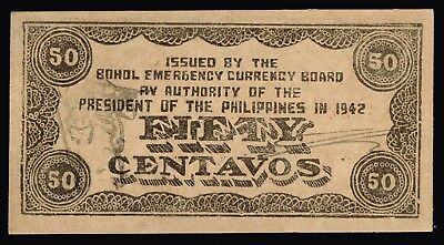 PHILIPPINES:-1942 WW2 Bohol Emergency Currency Board 50 centavos note. AP6967