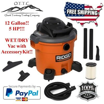 RIDGID 12 Gallon 5.0 HP Wet/Dry Vac w/ Accessories and Filter wet dry vacuum