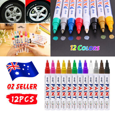 12 Colors Sets Fine Paint Oil Based Art Marker Pen Brush Glass Metal Waterproof