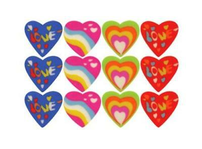 144 MINI Heart shaped RUBBER/ERASER (12 x Bag of 12) Party Bag Stationery Toy