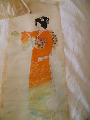 1940's Vintage Silk Painting Geisha Japan Japanese Woman WWII Picture Unframed