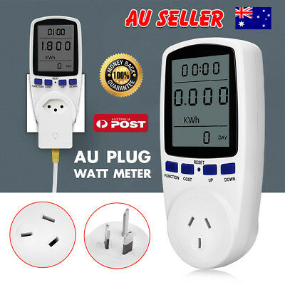 240V Power Meter Monitor Energy Consumption Watt Electricity Usage Tester Plugs