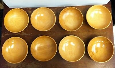 "Set of 8 Vintage Wooden Rice Bowls 6"" Made in Japan"