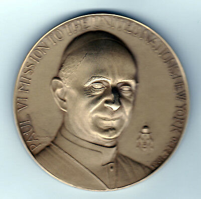 1965 Paul VI Mission to the United Nations New York Bronze Medallion