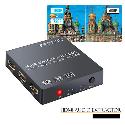 3IN1 HDMI Switch Audio Extractor Converter SPDIF Output Support 4K 3D 1080P PIP