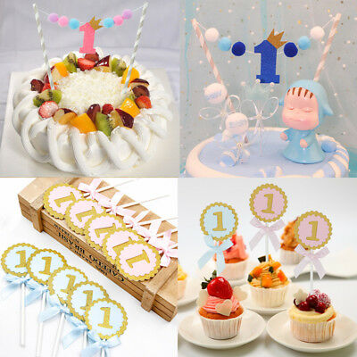 New Happy Birthday One Year Old Cake Topper Flag Baby Shower Cake Crown Banner