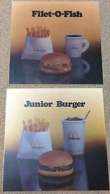 2 VINTAGE 1980s MCDONALDS ADVERTISING SIGNS ..JUNIOR BURGER & FILLET-O-FISH