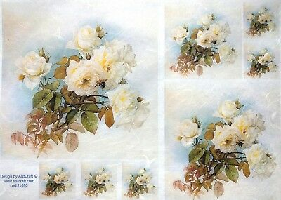 Rice Paper for Decoupage, Scrapbooking, Sheet Craft Vintage Light Roses Mix