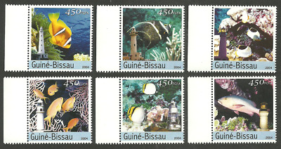 Guinea 2004 Fishes Fish Lighthouses Corals Set Mnh