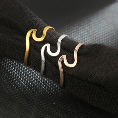 Ocean wave Thin Zinc Ring Gold Silver Rose Ring Wedding Band Womans 10% to RNLI