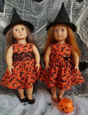 Custom made Doll Clothes Orange Bats Halloween Dress fits Our Generation Doll