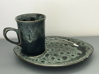 Fosters Pottery Cornwall Mug With Snack / Biscuit Plate Green Ceramic Set