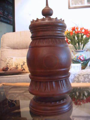 Very large vintage Wood carved Black Forest Tobacco Drum