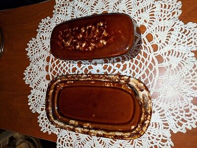 Vintage Hull pottery USA brown drip glaze butter dish