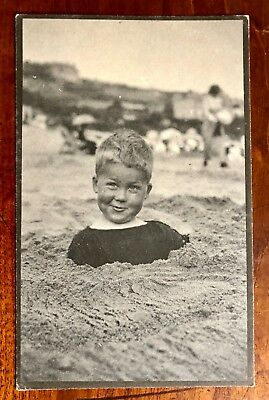 Quality Platinotype photograph boy buried in sand great expression c1905 RP