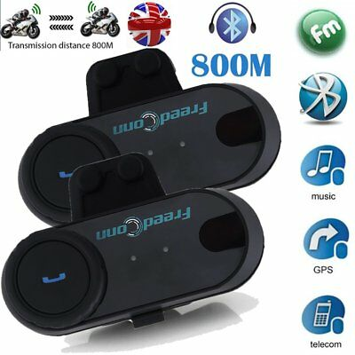 2 X 800M Bluetooth Motorbike Motorcycle Helmet Intercom Interphone Headset