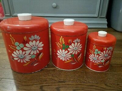 Ransburg Genuine Hand Painted Vintage Kitchen metal Canister Set Red Flowers
