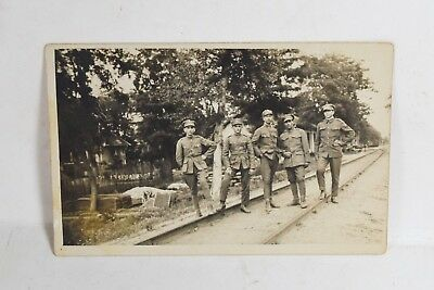 Antique 1924 Greek Postcard Photo of Soldier Officers  in camp War Photo WW1?