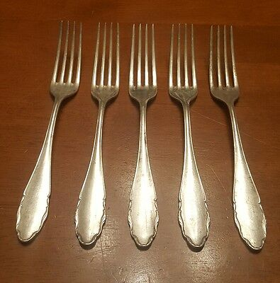 Antique WMF 2200 CHIPPENDALE Silver plate PATENT 90   5 DINNER FORKS-GERMANY