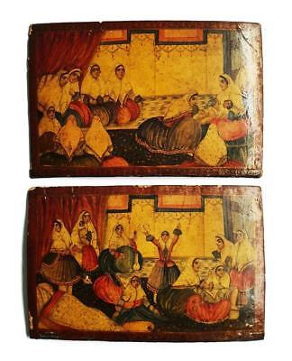 QAJAR PERSIAN LACQUER BOOK COVERS 19th Century BIRTH OF A PRINCE IN THE HAREM