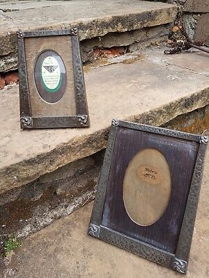 Pair Vintage Antique Hammered Pewter Arts And Crafts Photo Picture Frame