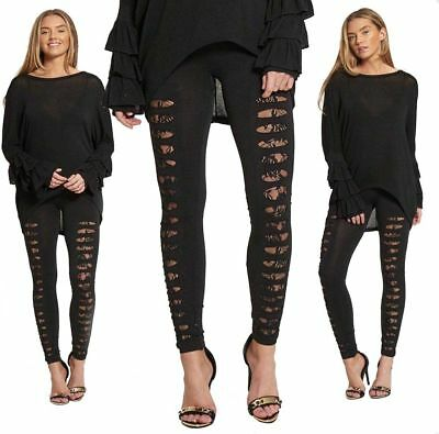 Ladies High Waisted Black Lace Insert Ripped Slash Fashion Party Leggings 8-14