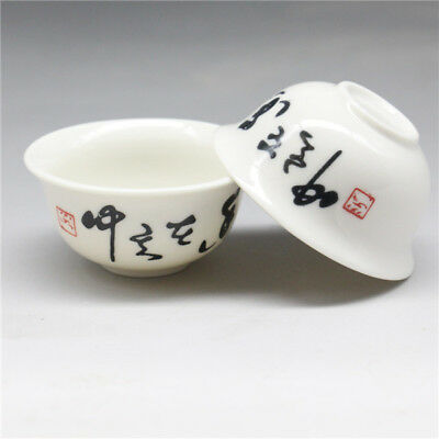 New 2 Pcs Chinese porcelain penmanship Gongfu Sample Tea cups