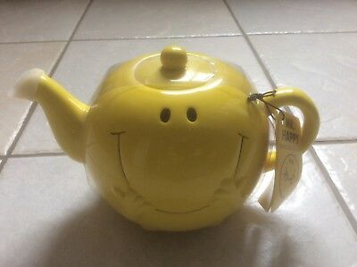 Yellow mr happy tea pot bnwt