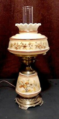 Beautiful Vintage Hurricane Lamp With Earth Tone Colors And Flowers