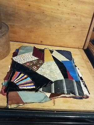 Lot Antique Crazy Quilt Square Blocks Pieces Early Unusual Egg Washed Backing