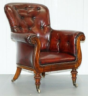 Regency Chesterfield Bordeaux Leather Porters Armchair In The Manor Of Gillows