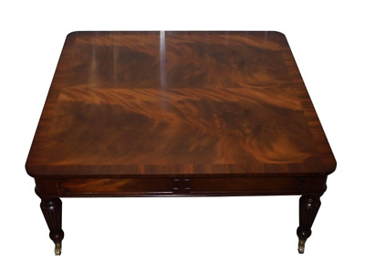 Large 120Cm Square Flamed Mahogany Coffee Table Carbed Legs Castors With Drawers