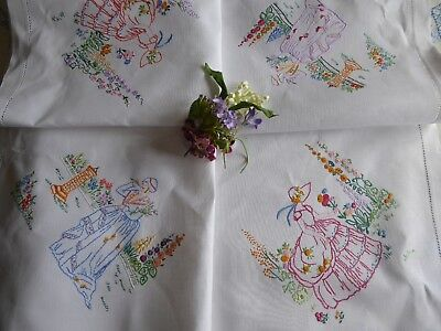 Vintage Hand Embroidered Tablecloth/  Lovely  Crinoline Ladies & Gardens