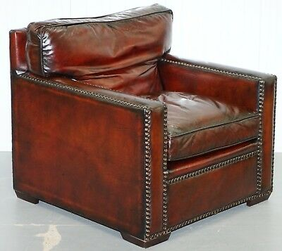 Restored Vintage Hand Made In Chelsea Bordeaux Leather Armchair Part Of Suite