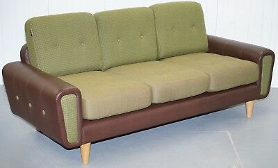 Rrp £4784 Deadgood Harvey 3 Seater Brown Leather & Tweed Wool Sofa Rare Find