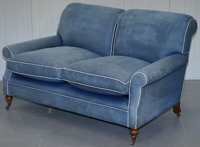 Rrp £10,046 George Smith Signature Scroll Arm Feather Filled Sofa Suede Leather