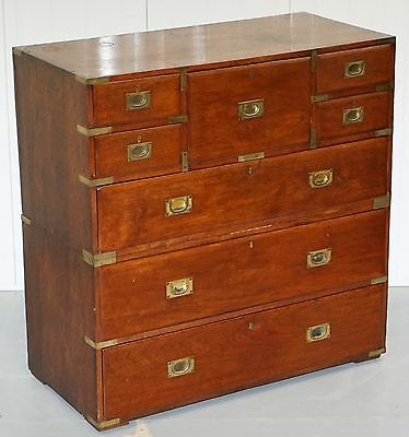 Rare 1870 Campaign Chest Of Drawers With Original White & Co Ltd Paper Labels