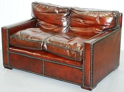 Restored Vintage Hand Made In Chelsea Bordeaux Leather Sofa Part Of Huge Suite