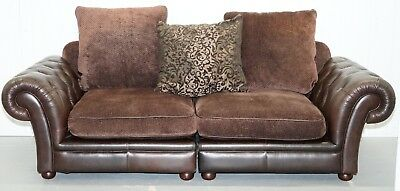 Stunning Brown Leather And Fabric Chesterfield Sofa Large And Very Comfortabele