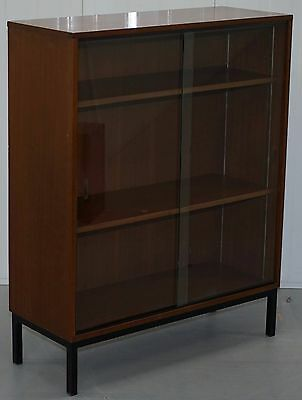 Mid Century Danish Glass Door Display Cabinet Bookcase Very Usable Versatile