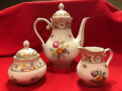 Large, Unique and Old Schumann Arzberg Tea or Coffee Set - Dresden Flowers