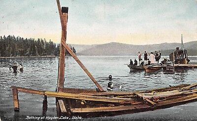 Bathing at Hayden Lake Idaho Souvenir Post Card Vintage