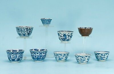 9 CHINESE BLUE & WHITE EXPORT PORCELAIN BOWLS, KANGXI PERIOD early 18th century