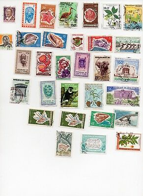 IVORY COAST 30 Stamps all different and of paper