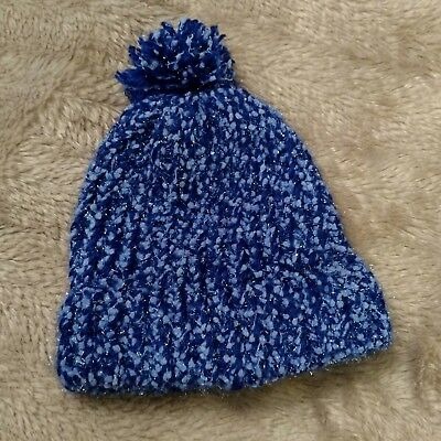 Hand knitted sparkly blue beanie/hat NEW without Tags!