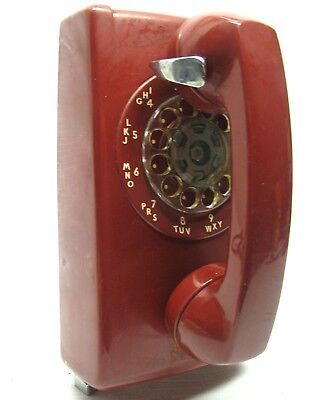 Cherry Red Vintage Western Electric 554 Bell System Rotary Wall Mounted Phone