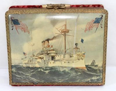 Rare Spanish American War USS Olympia Celluloid Photo Album w/ 57 Cabinet Photos
