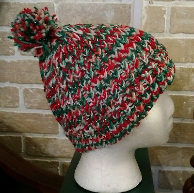 Hand knitted holiday beanie/hat NEW without Tags