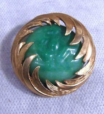 Vintage Green GRIPOIX Poured Glass Gold Encrusted Pin Peking Unsigned Designer